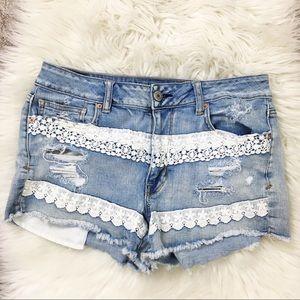 AEO hi rise shortie jean shorts